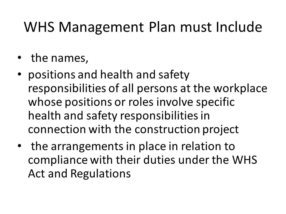 WHS Management Plan must Include