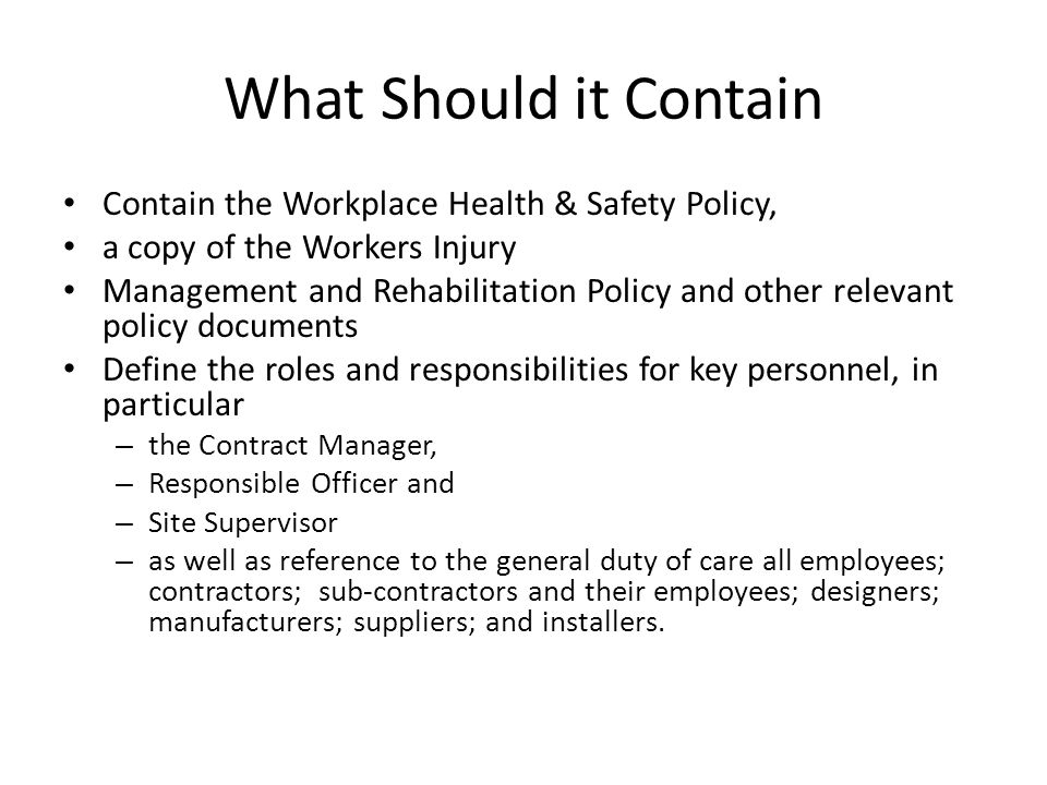 What Should it Contain Contain the Workplace Health & Safety Policy,