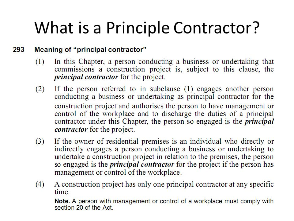 What is a Principle Contractor