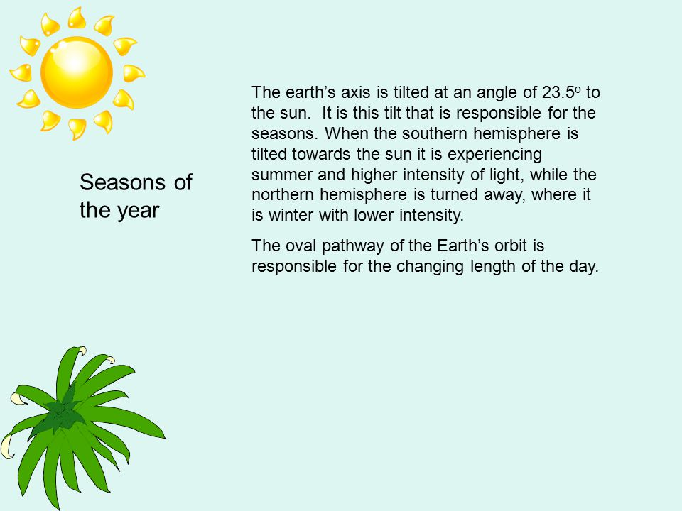 The earth's axis is tilted at an angle of 23. 5o to the sun