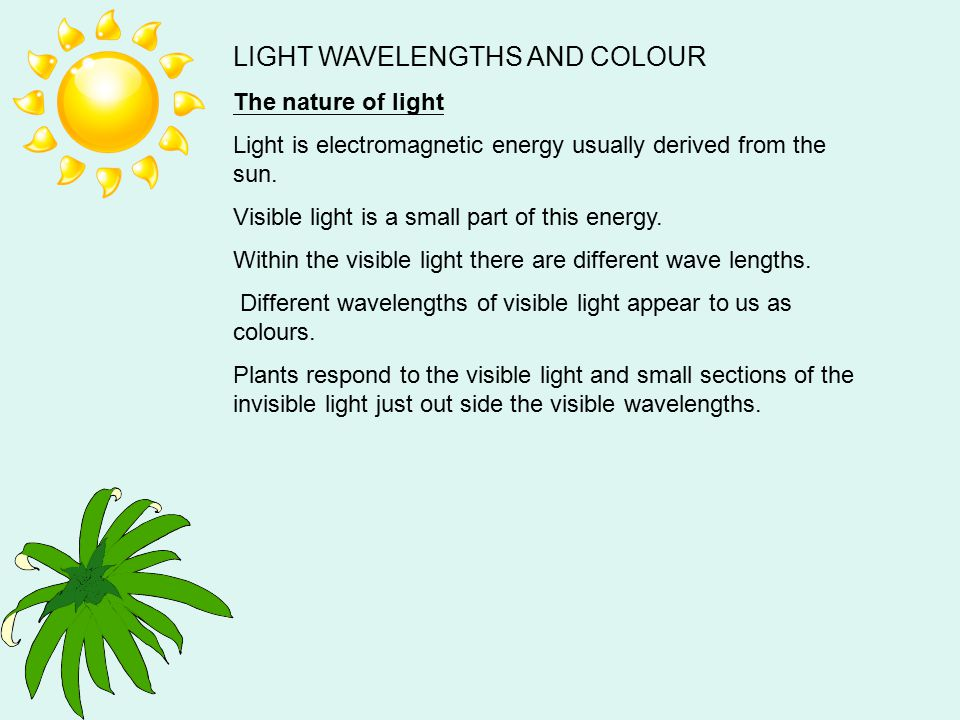 LIGHT WAVELENGTHS AND COLOUR