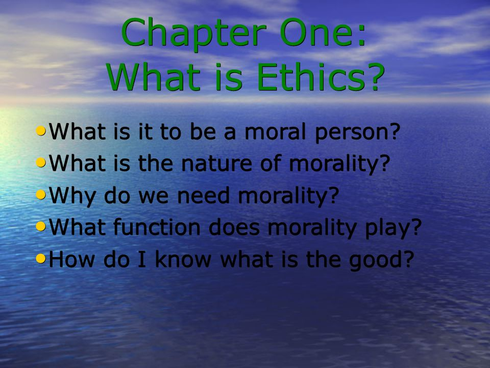 what does it mean to be a moral person