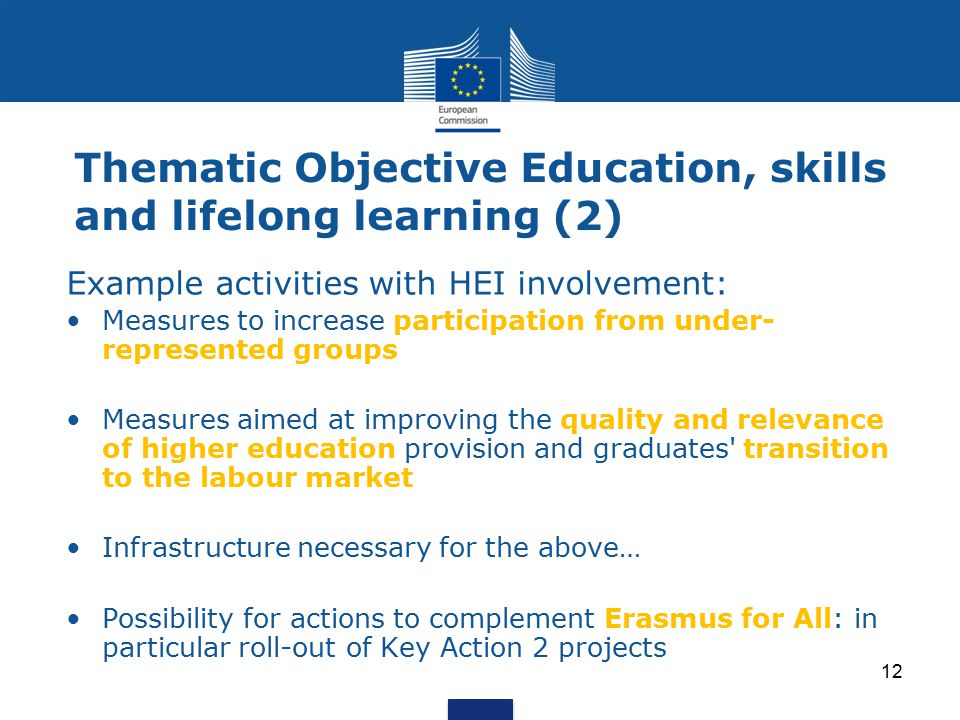 Thematic Objective Education, skills and lifelong learning (2)