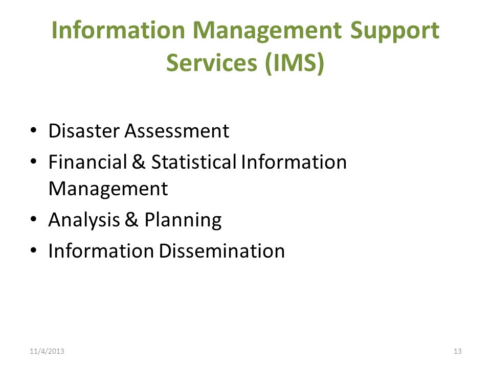 Information Management Support Services (IMS)