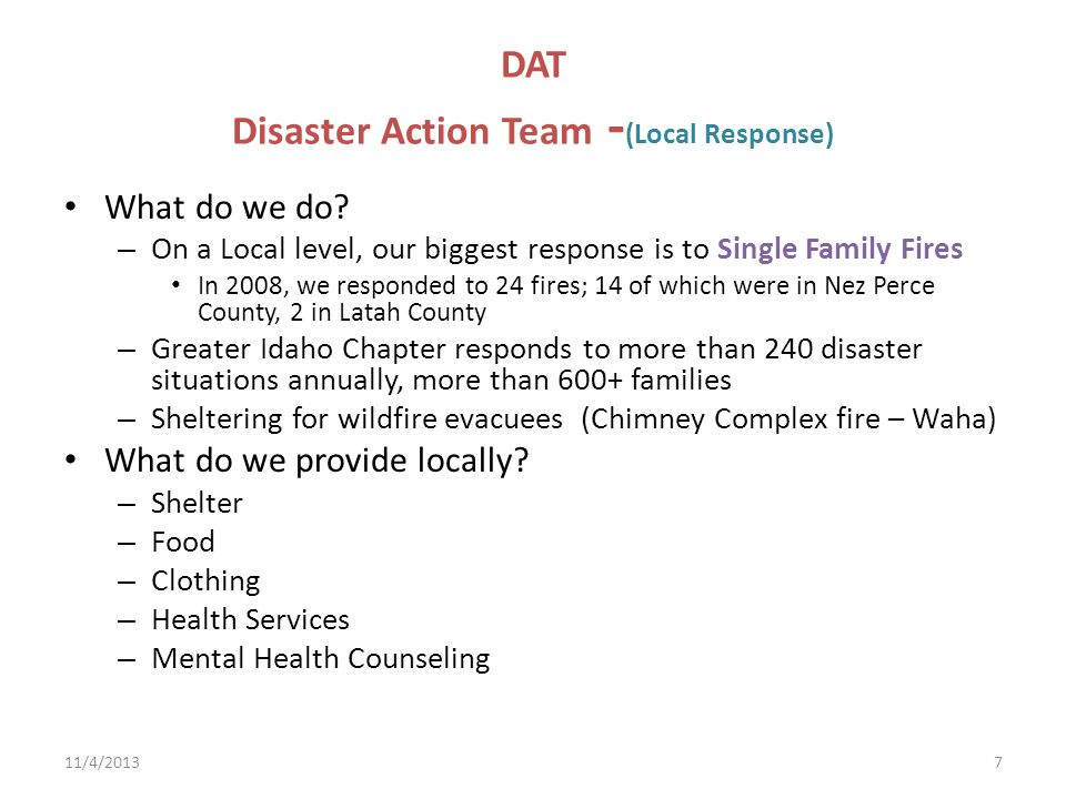 DAT Disaster Action Team -(Local Response)