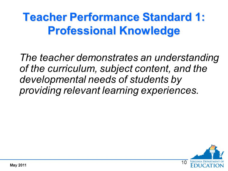 Performance Indicators Examples for Standard 1: Professional Knowledge
