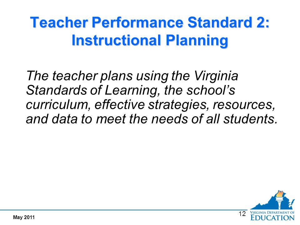 Performance Indicators Examples for Standard 2: Instructional Planning