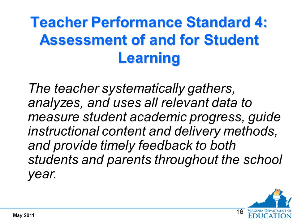 Performance Indicators Examples for Standard 4:
