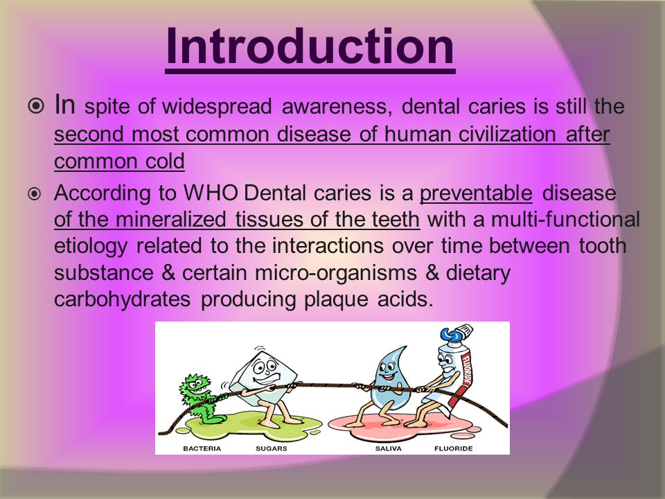 Introduction In spite of widespread awareness, dental caries is still the second most common disease of human civilization after common cold.