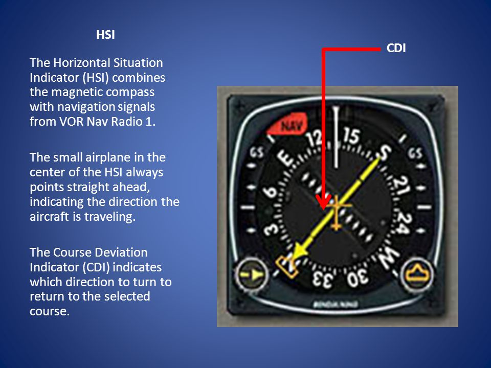 HSI CDI. The Horizontal Situation Indicator (HSI) combines the magnetic compass with navigation signals from VOR Nav Radio 1.