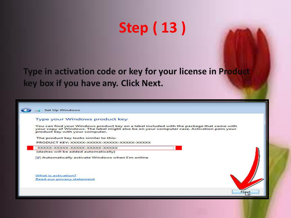 Step ( 13 ) Type in activation code or key for your license in Product key box if you have any.