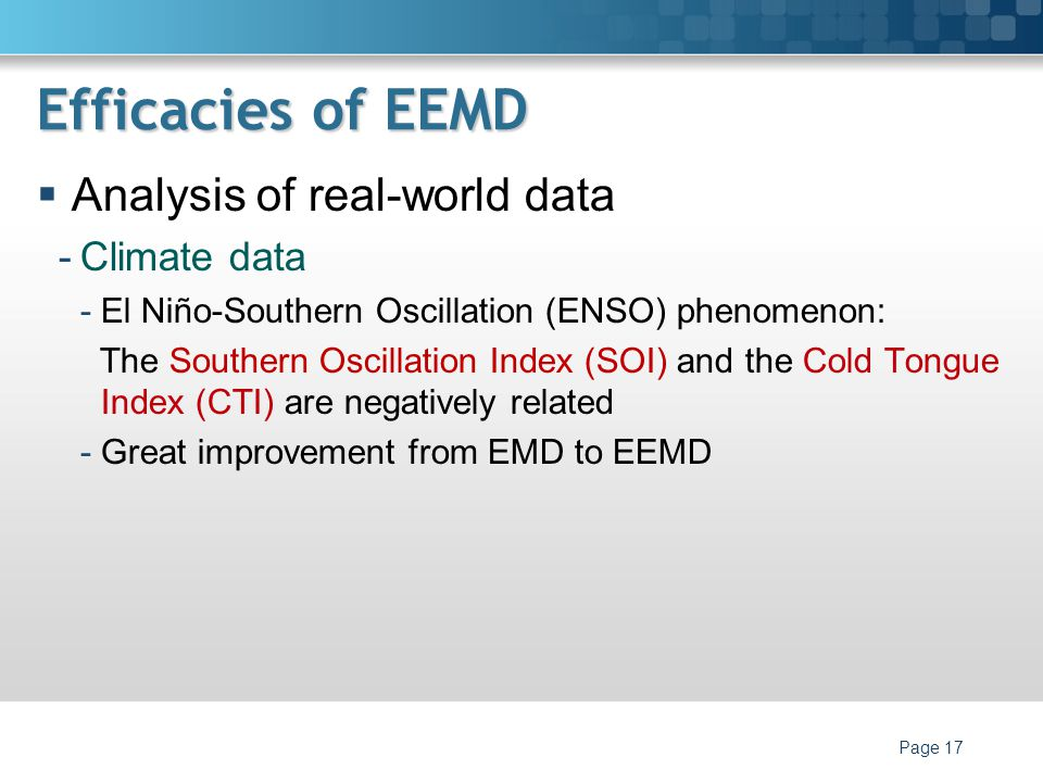 Efficacies of EEMD Analysis of real-world data Climate data