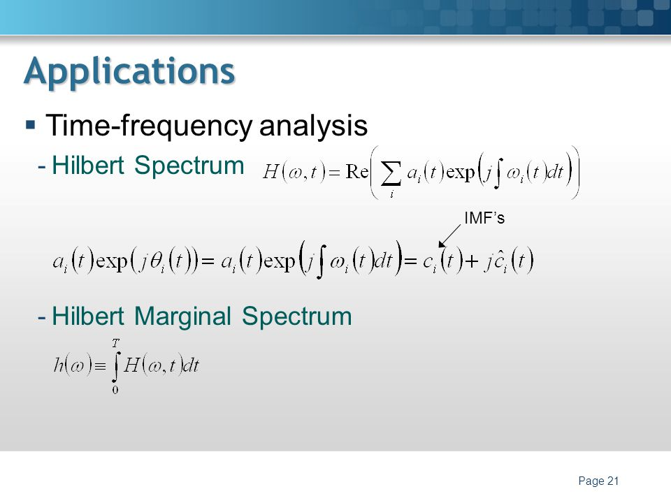 Applications Time-frequency analysis Hilbert Spectrum