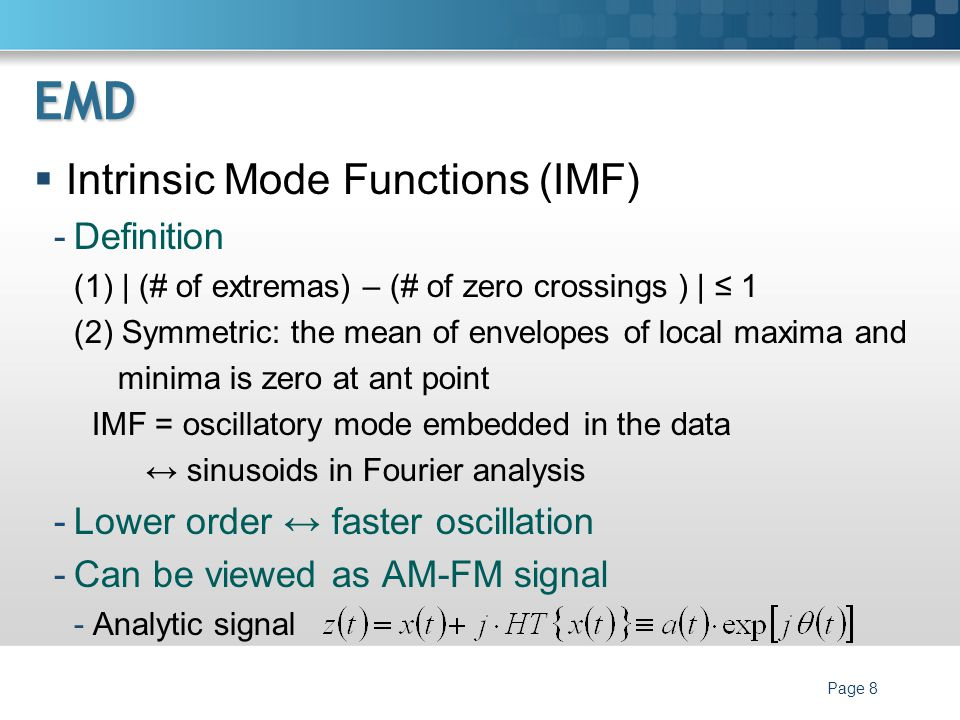 EMD Intrinsic Mode Functions (IMF) Definition