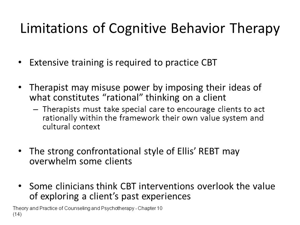 Limitations of Cognitive Behavior Therapy