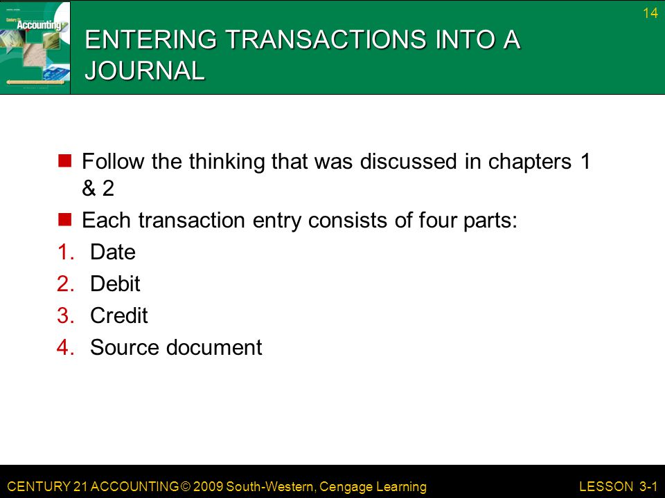 ENTERING TRANSACTIONS INTO A JOURNAL