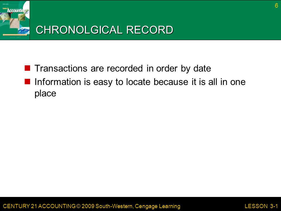 CHRONOLGICAL RECORD Transactions are recorded in order by date