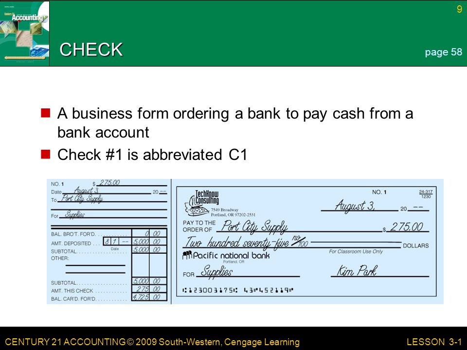 CHECK A business form ordering a bank to pay cash from a bank account