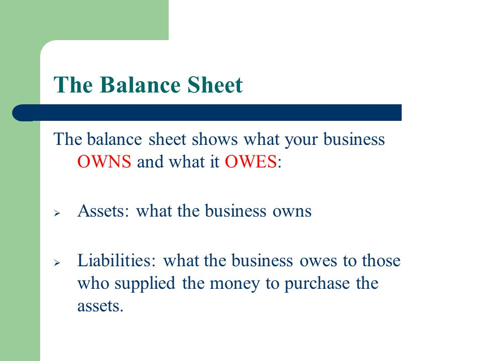 The Balance Sheet The balance sheet shows what your business OWNS and what it OWES: Assets: what the business owns.