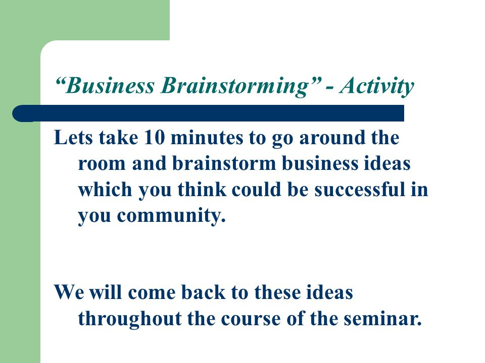 Business Brainstorming - Activity