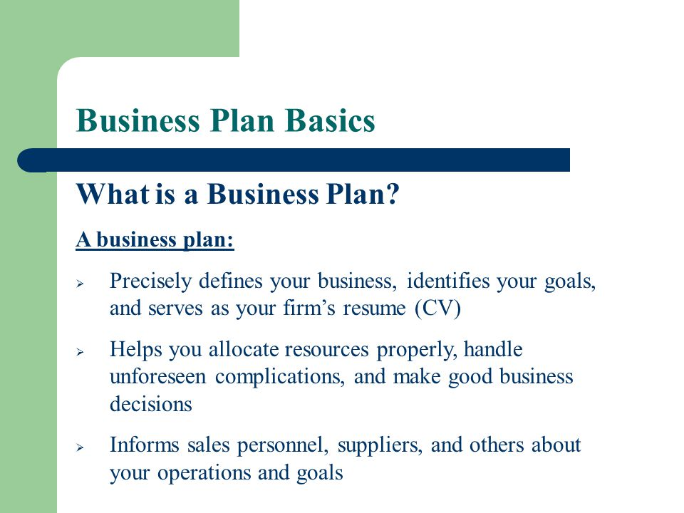 Business Plan Basics What is a Business Plan A business plan: