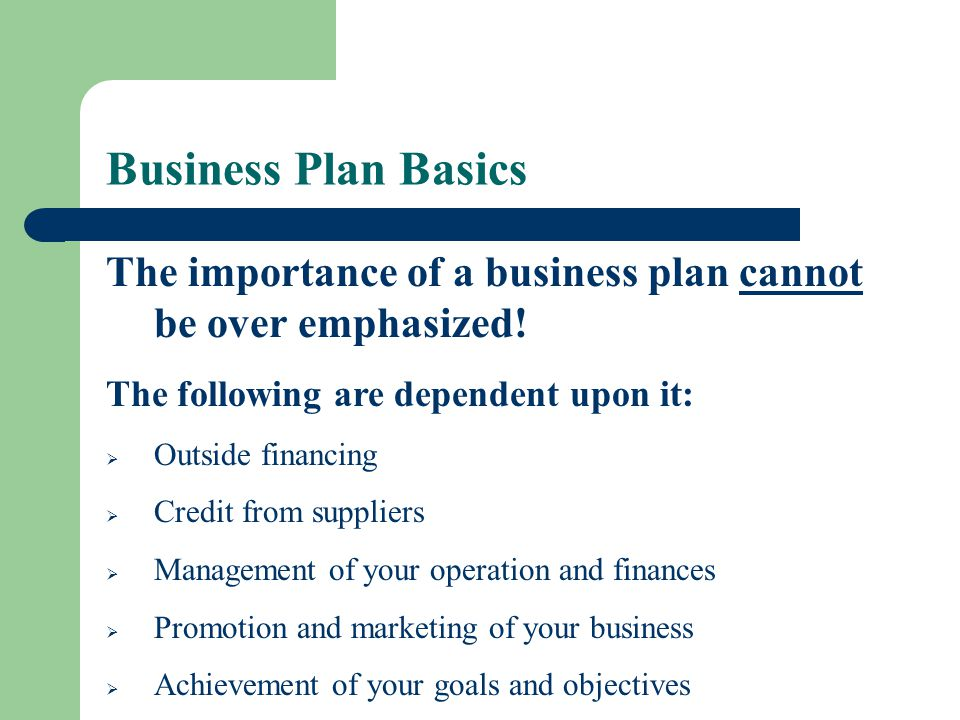Business Plan Basics The importance of a business plan cannot be over emphasized! The following are dependent upon it: