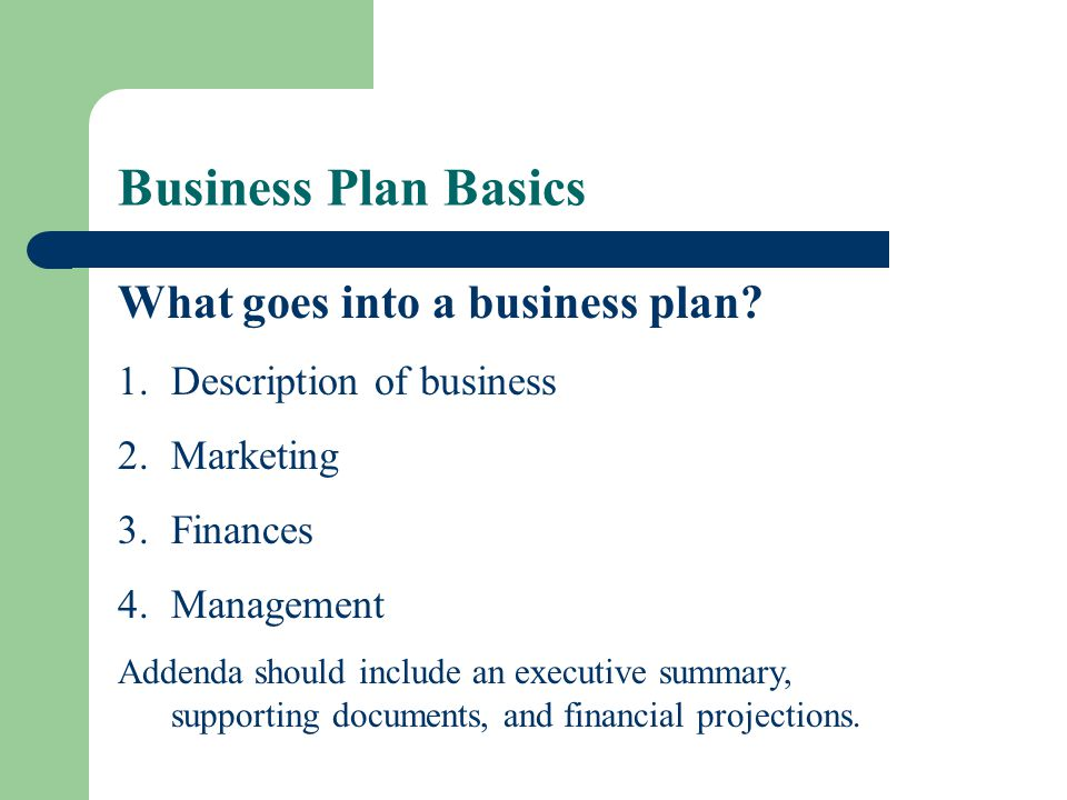 Business Plan Basics What goes into a business plan