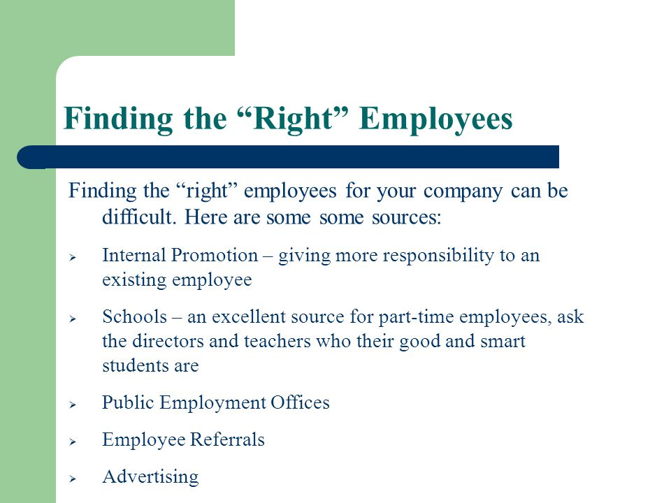 Finding the Right Employees