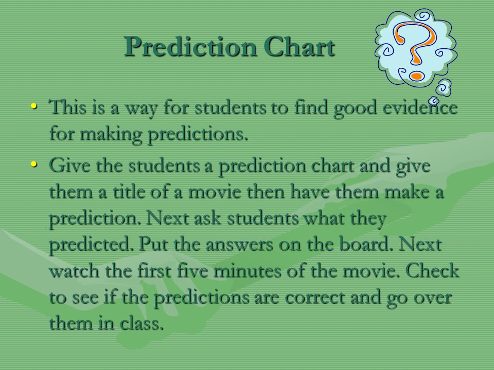 Prediction Chart This is a way for students to find good evidence for making predictions.