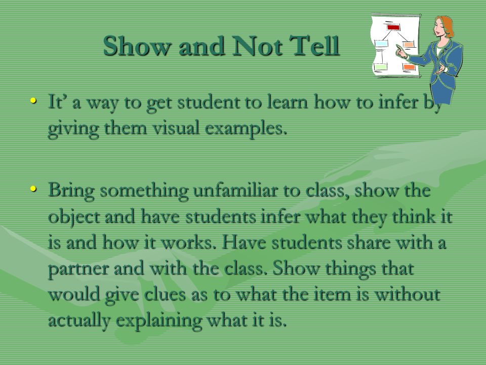 Show and Not Tell It' a way to get student to learn how to infer by giving them visual examples.