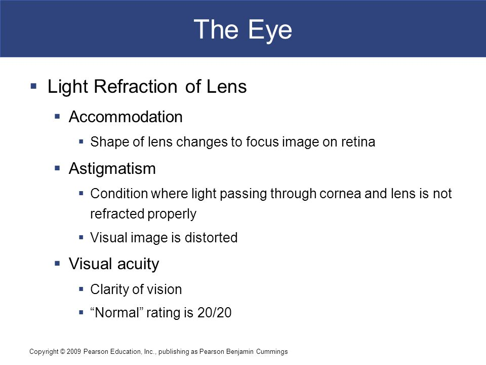 The Eye Light Refraction of Lens Accommodation Astigmatism