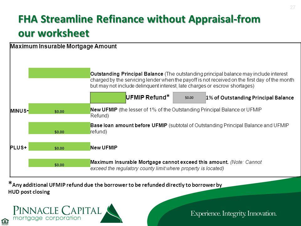 Fha Streamline Refi Worksheet Without Appraisal Nidecmege