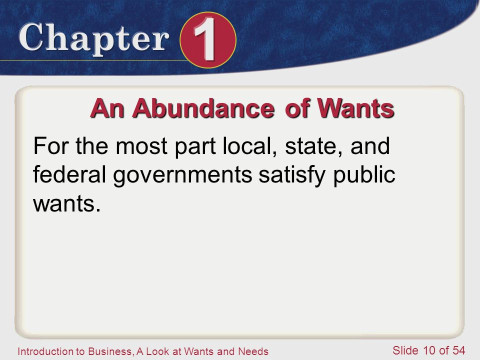 An Abundance of Wants For the most part local, state, and federal governments satisfy public wants.