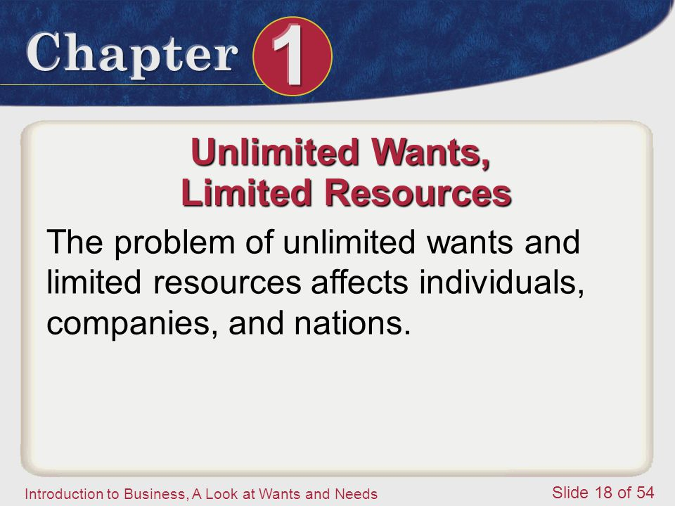 Unlimited Wants, Limited Resources