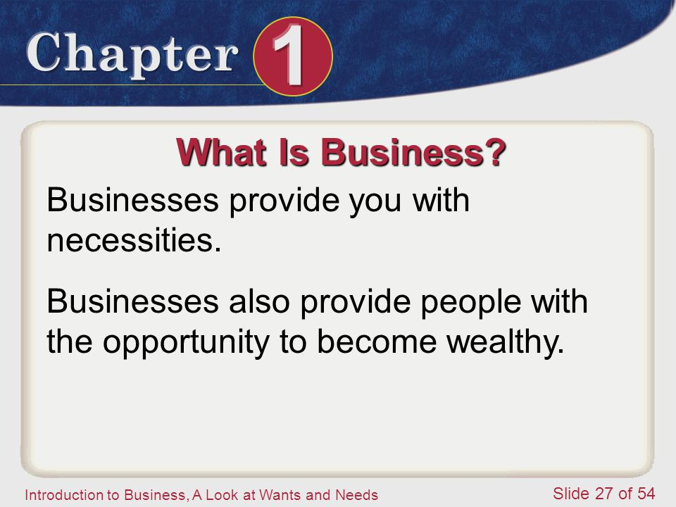 What Is Business Businesses provide you with necessities.