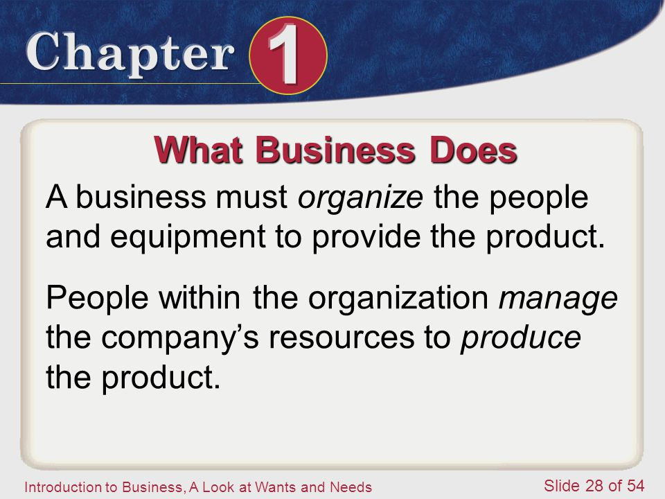 What Business Does A business must organize the people and equipment to provide the product.