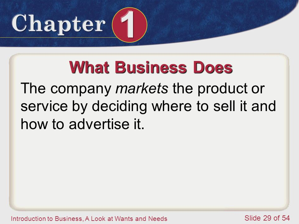 What Business Does The company markets the product or service by deciding where to sell it and how to advertise it.