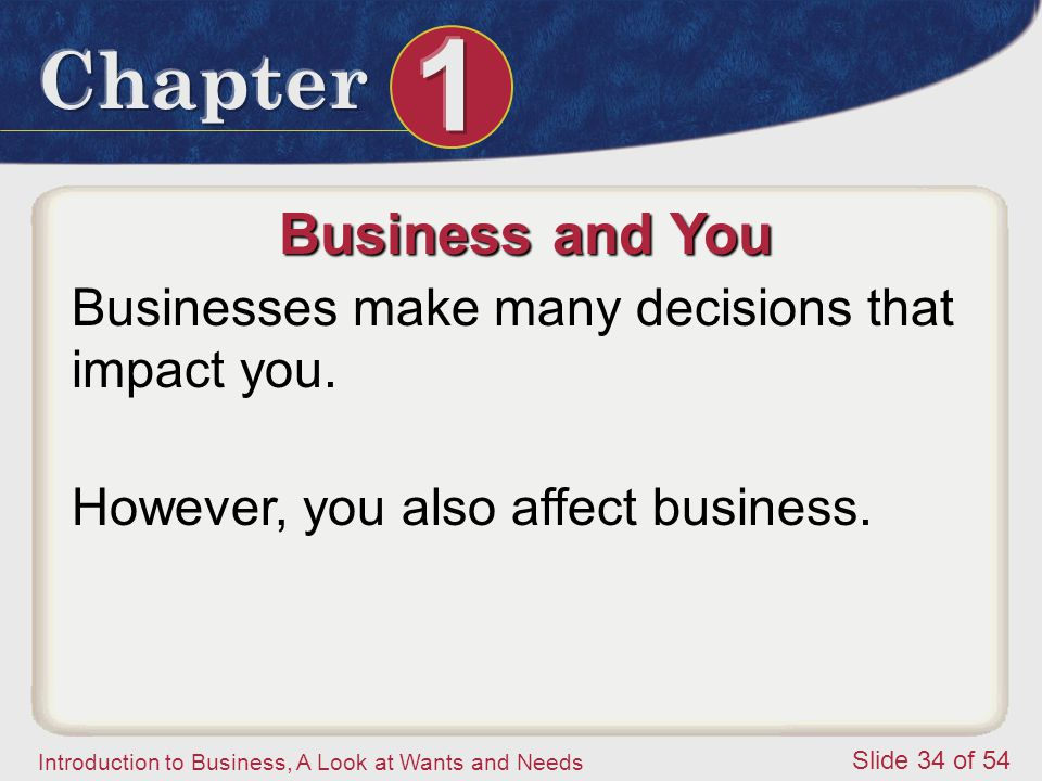Business and You Businesses make many decisions that impact you.