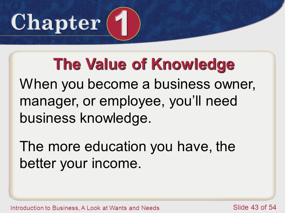 The Value of Knowledge When you become a business owner, manager, or employee, you'll need business knowledge.