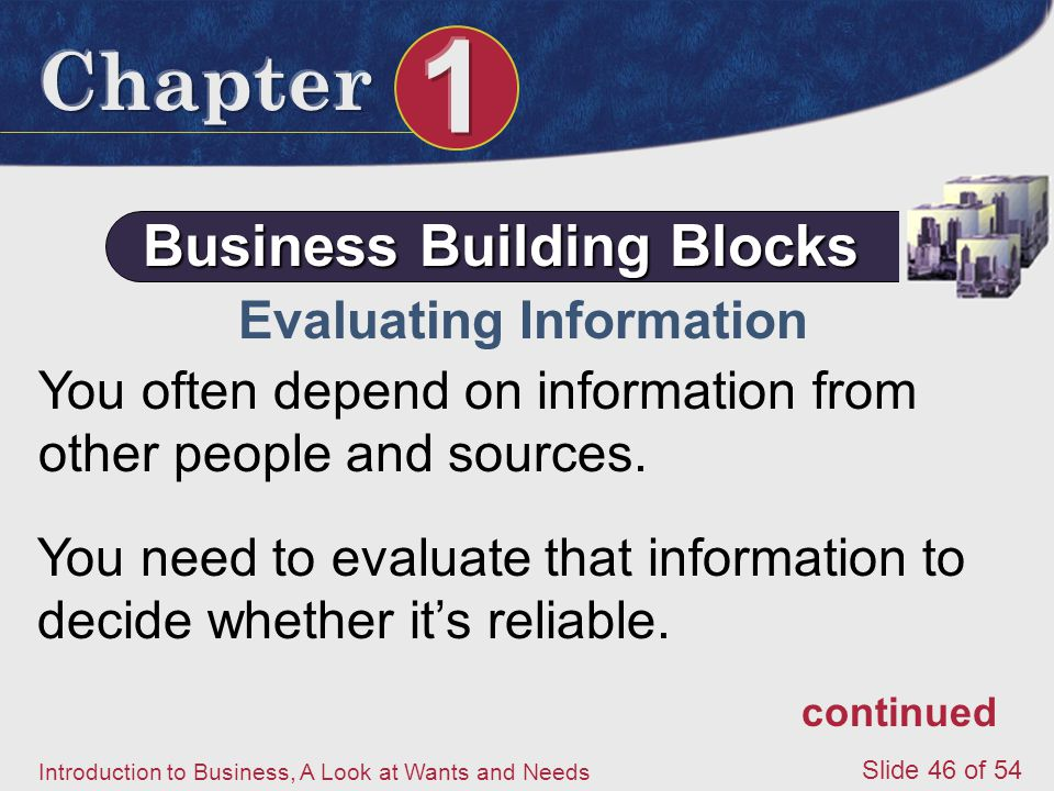 Business Building Blocks Evaluating Information
