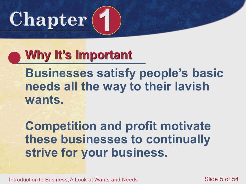 Why It's Important Businesses satisfy people's basic needs all the way to their lavish wants.