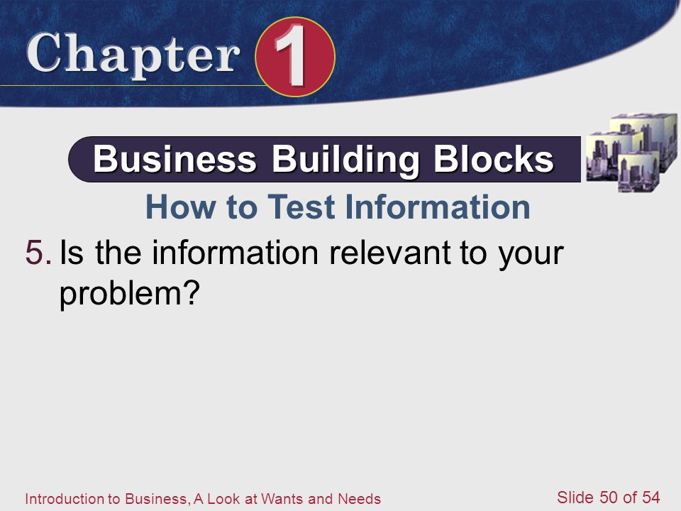 Business Building Blocks How to Test Information