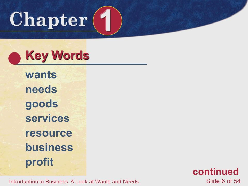 Key Words wants needs goods services resource business profit