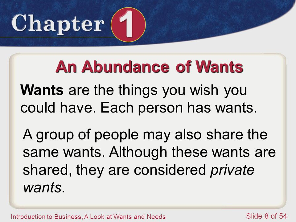 An Abundance of Wants Wants are the things you wish you could have. Each person has wants.