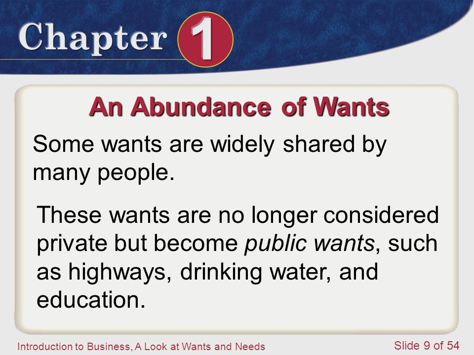 An Abundance of Wants Some wants are widely shared by many people.