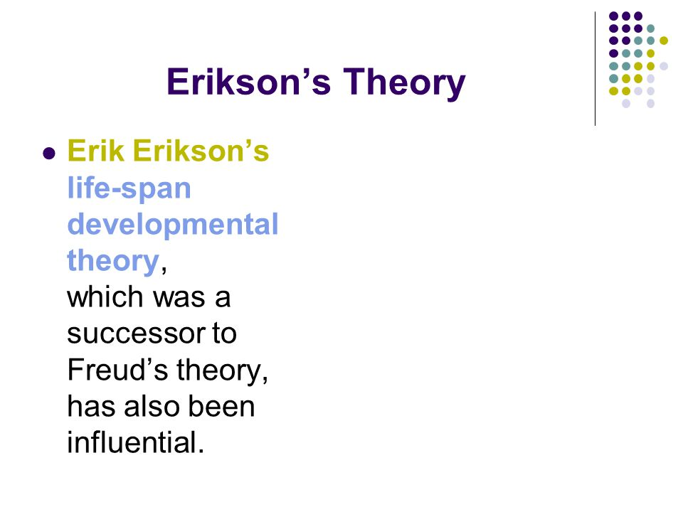 erikson lifespan theory essay Erik erikson essay examples  the life and contributions of jean piaget and erik erikson 1,532 words 3 pages a biography of erik erikson, a german psychologist  an analysis of the lives of two participants through the two stages of erikson's theory of development 1,834 words.