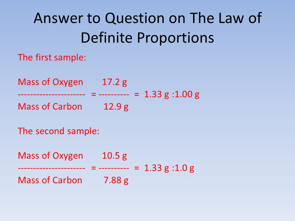 Answer to Question on The Law of Definite Proportions