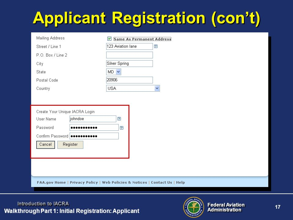 Applicant Registration (con't)