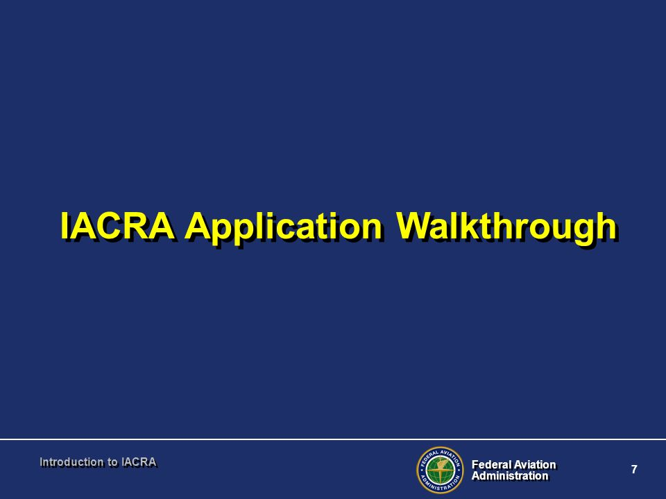 IACRA Application Walkthrough