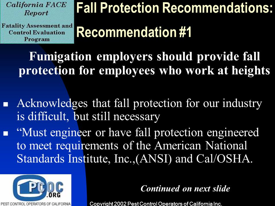 Cal-OSHA and Fumigation Even Some OSHA & General Pest - ppt